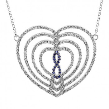Sterling Silver Infinity Heart Elevated Large Pendant With Blue Stones